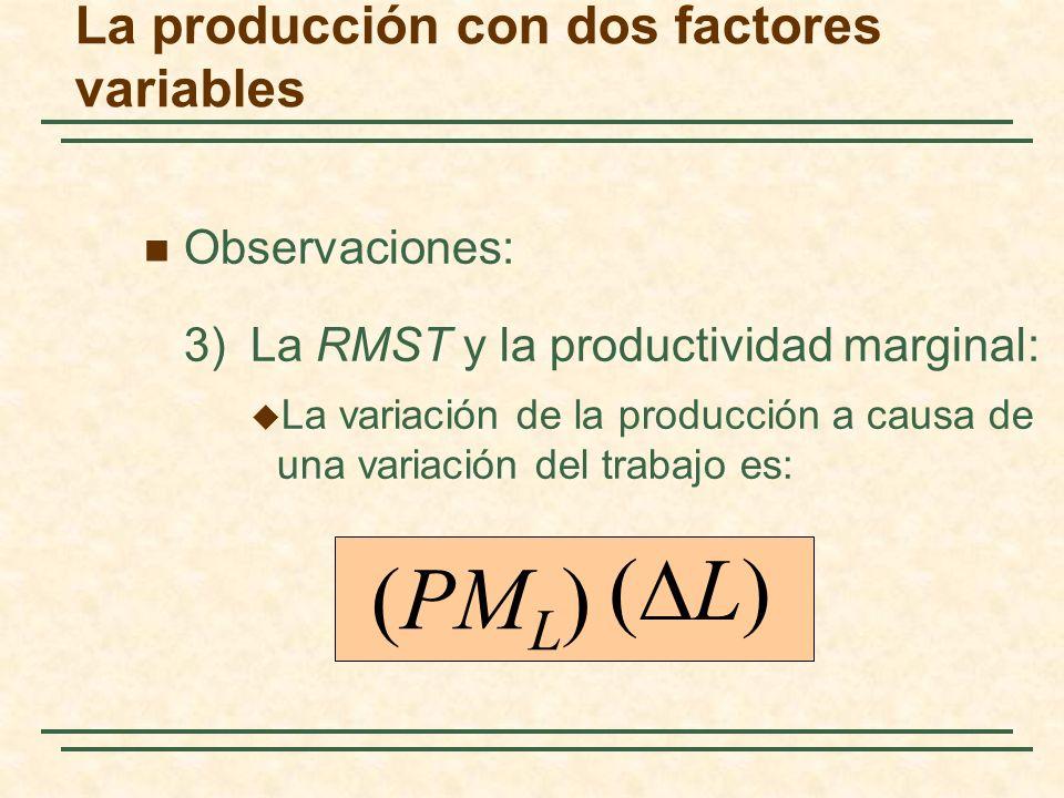 Observaciones: 3)La RMST y la productividad marginal: La variación de la producción a causa de una variación del trabajo es: (PM L ) ( L) La producció
