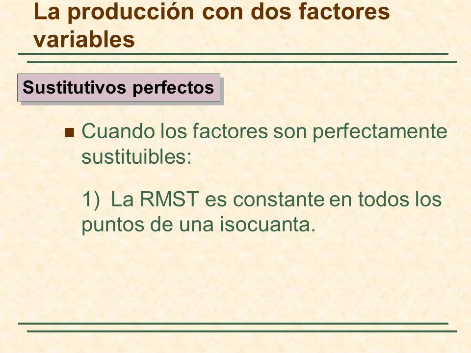 Cuando los factores son perfectamente sustituibles: 1)La RMST es constante en todos los puntos de una isocuanta. Sustitutivos perfectos La producción