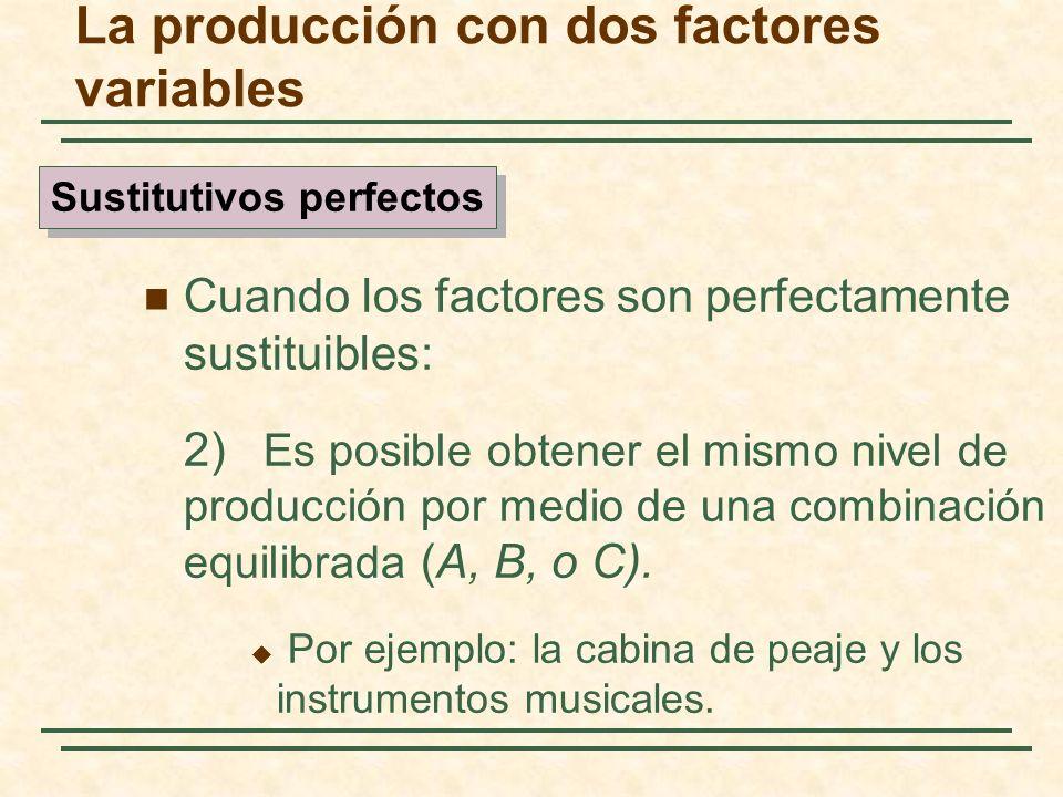 Cuando los factores son perfectamente sustituibles: 2) Es posible obtener el mismo nivel de producción por medio de una combinación equilibrada (A, B,