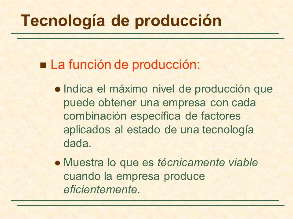 La función de producción: Indica el máximo nivel de producción que puede obtener una empresa con cada combinación específica de factores aplicados al