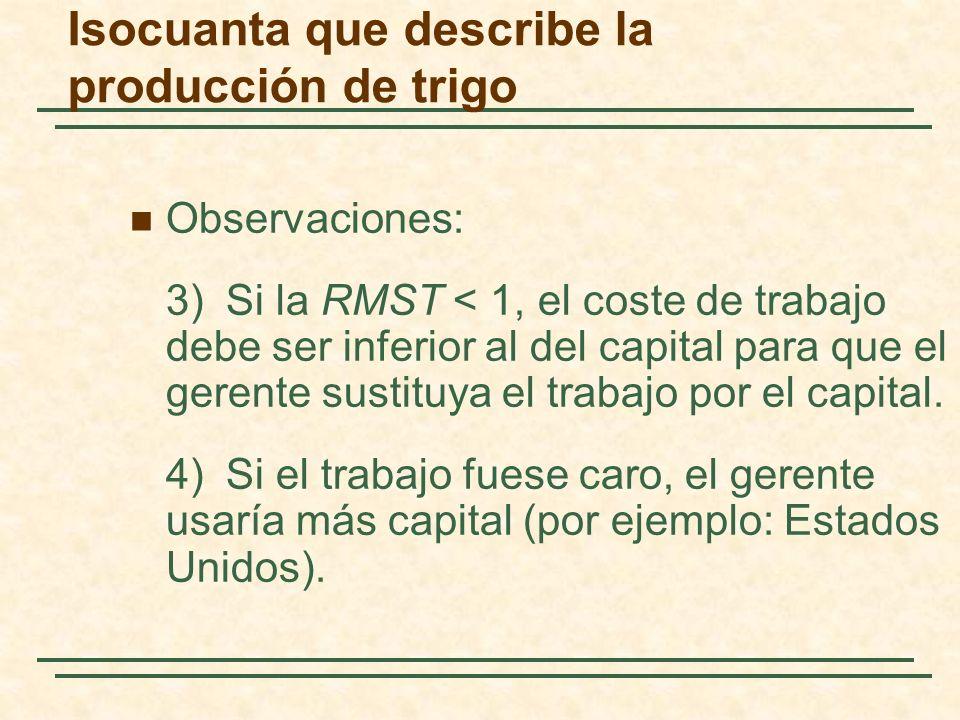 Observaciones: 3)Si la RMST < 1, el coste de trabajo debe ser inferior al del capital para que el gerente sustituya el trabajo por el capital. 4)Si el