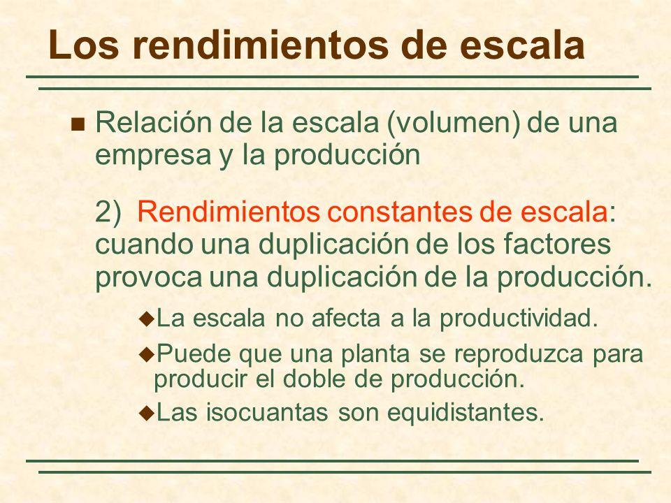 Relación de la escala (volumen) de una empresa y la producción 2)Rendimientos constantes de escala: cuando una duplicación de los factores provoca una