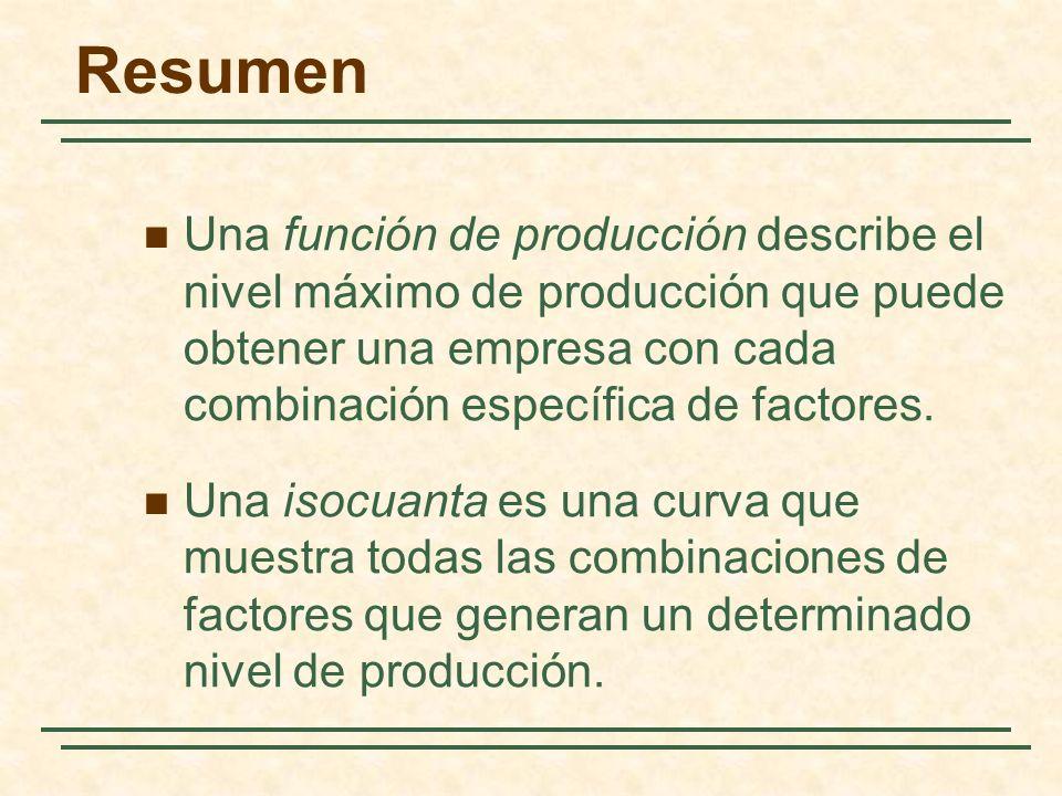 Resumen Una función de producción describe el nivel máximo de producción que puede obtener una empresa con cada combinación específica de factores. Un