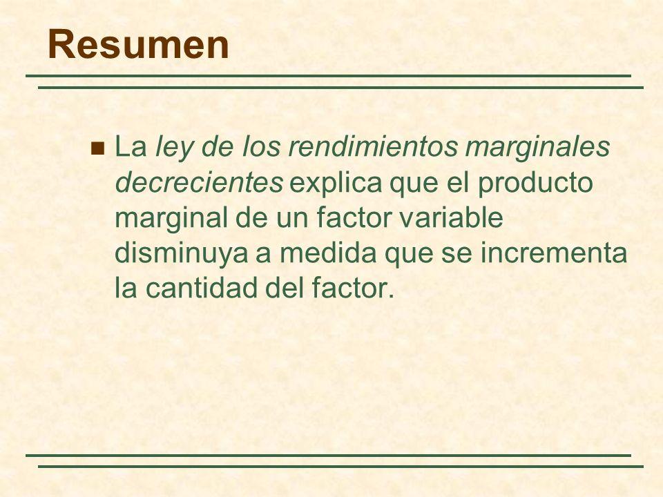 La ley de los rendimientos marginales decrecientes explica que el producto marginal de un factor variable disminuya a medida que se incrementa la cant