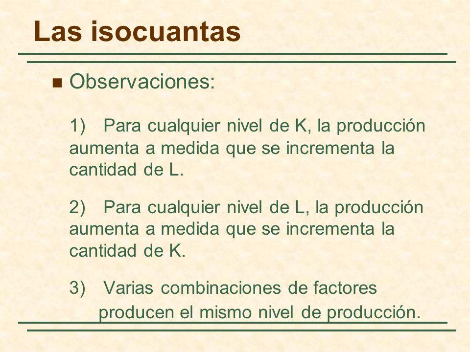 Observaciones: 1) Para cualquier nivel de K, la producción aumenta a medida que se incrementa la cantidad de L. 2) Para cualquier nivel de L, la produ