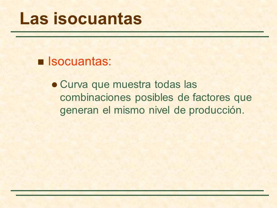 Isocuantas: Curva que muestra todas las combinaciones posibles de factores que generan el mismo nivel de producción. Las isocuantas