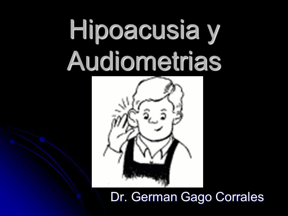 Hipoacusia y Audiometrias Dr. German Gago Corrales