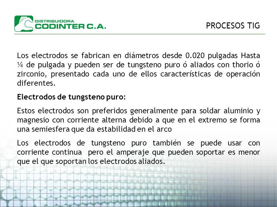 PROCESOS TIG Los electrodos se fabrican en diámetros desde 0.020 pulgadas Hasta ¼ de pulgada y pueden ser de tungsteno puro ó aliados con thorio ó zirconio, presentado cada uno de ellos características de operación diferentes.