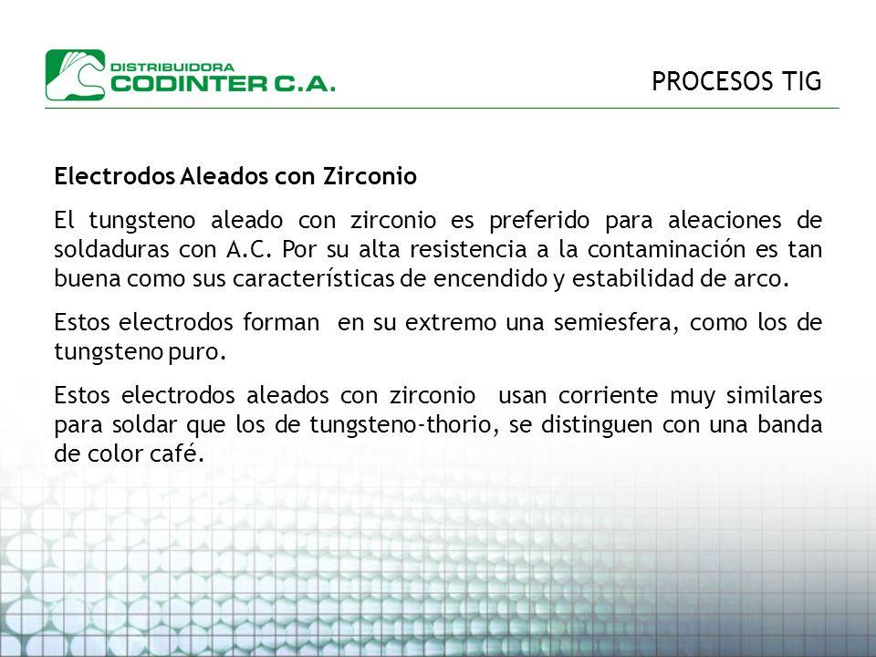 PROCESOS TIG Electrodos Aleados con Zirconio El tungsteno aleado con zirconio es preferido para aleaciones de soldaduras con A.C.