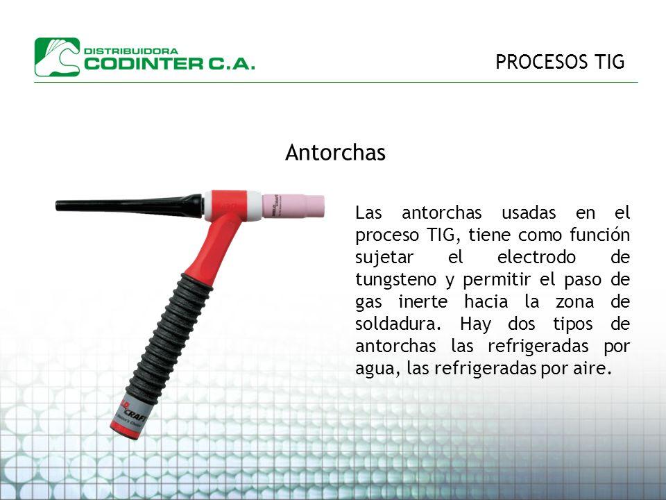 PROCESOS TIG Antorchas Las antorchas usadas en el proceso TIG, tiene como función sujetar el electrodo de tungsteno y permitir el paso de gas inerte hacia la zona de soldadura.