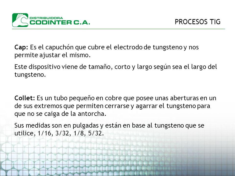PROCESOS TIG Cap: Es el capuchón que cubre el electrodo de tungsteno y nos permite ajustar el mismo.