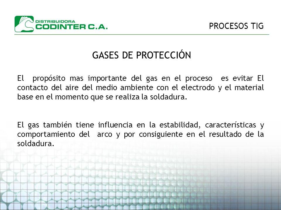 PROCESOS TIG GASES DE PROTECCIÓN El propósito mas importante del gas en el proceso es evitar El contacto del aire del medio ambiente con el electrodo y el material base en el momento que se realiza la soldadura.