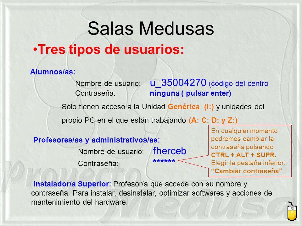 Salas Medusas Alumnos/as: Nombre de usuario: u_35004270 (código del centro Contraseña: ninguna ( pulsar enter) Sólo tienen acceso a la Unidad Genérica (I:) y unidades del propio PC en el que están trabajando (A: C: D: y Z:) Tres tipos de usuarios: Profesores/as y administrativos/as: Nombre de usuario: fherceb Contraseña: ****** Instalador/a Superior: Profesor/a que accede con su nombre y contraseña.