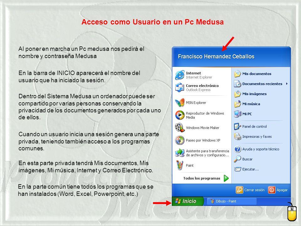 Dentro del Sistema Medusa un ordenador puede ser compartido por varias personas conservando la privacidad de los documentos generados por cada uno de ellos.