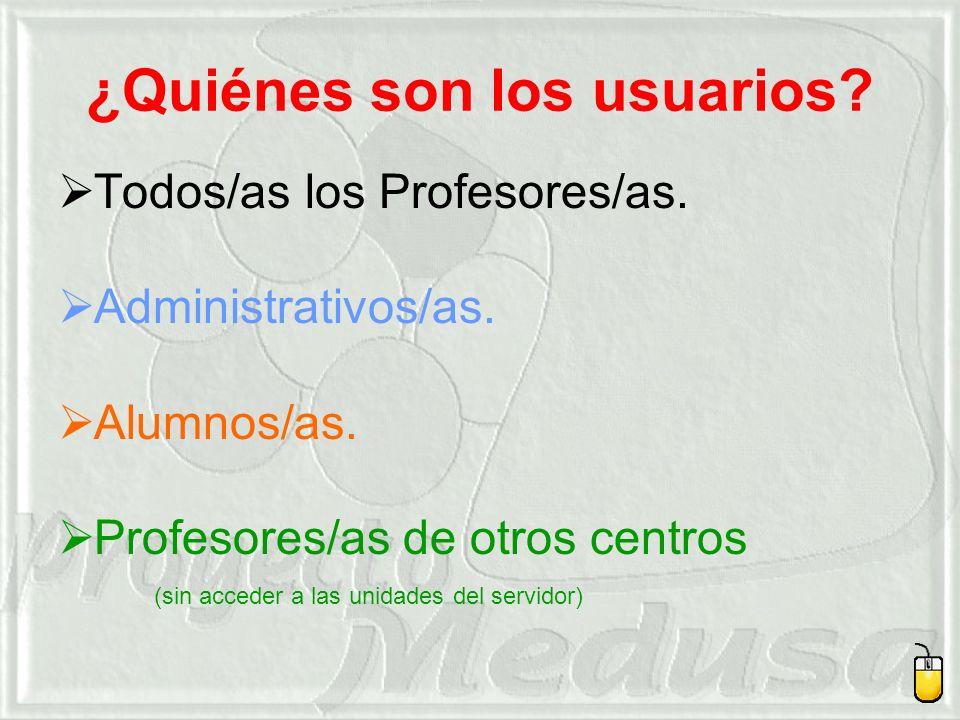 ¿Quiénes son los usuarios.Todos/as los Profesores/as.