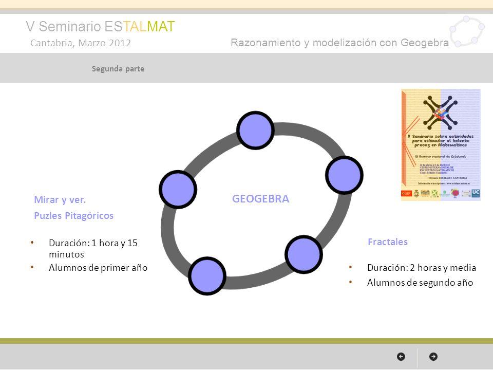 V Seminario ESTALMAT Cantabria, Marzo 2012 Razonamiento y modelización con Geogebra Segunda parte Mirar y ver. Puzles Pitagóricos Duración: 1 hora y 1