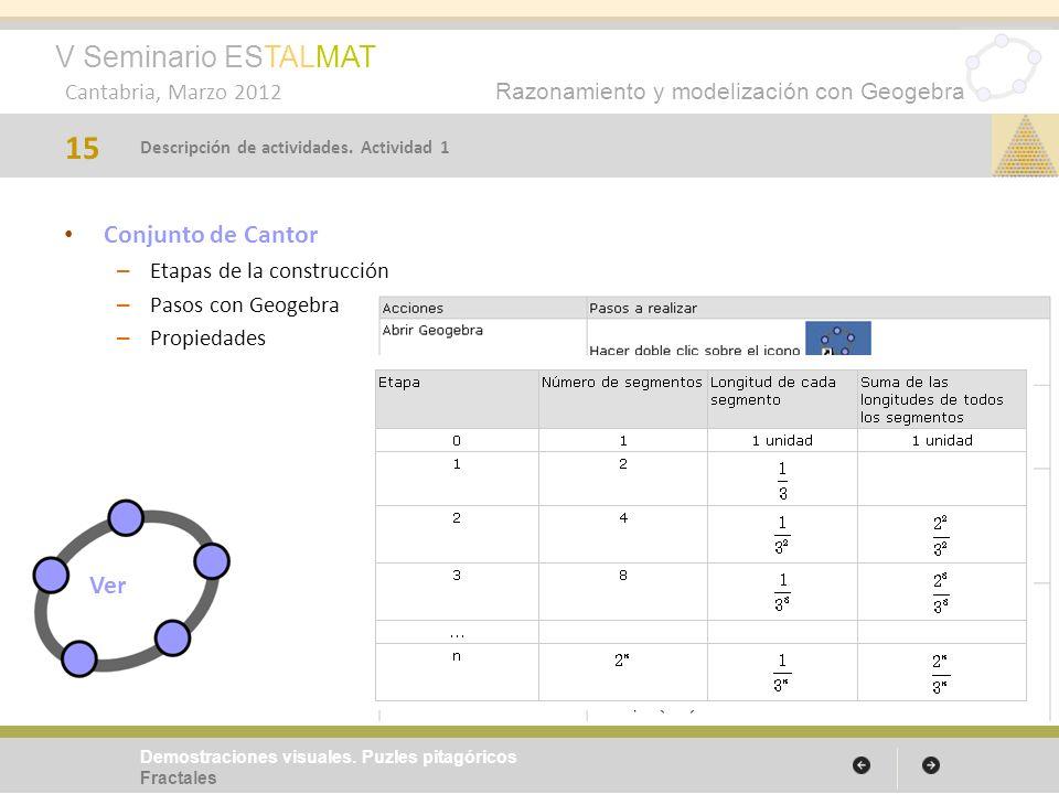 V Seminario ESTALMAT Cantabria, Marzo 2012 Razonamiento y modelización con Geogebra Conjunto de Cantor – Etapas de la construcción – Pasos con Geogebr