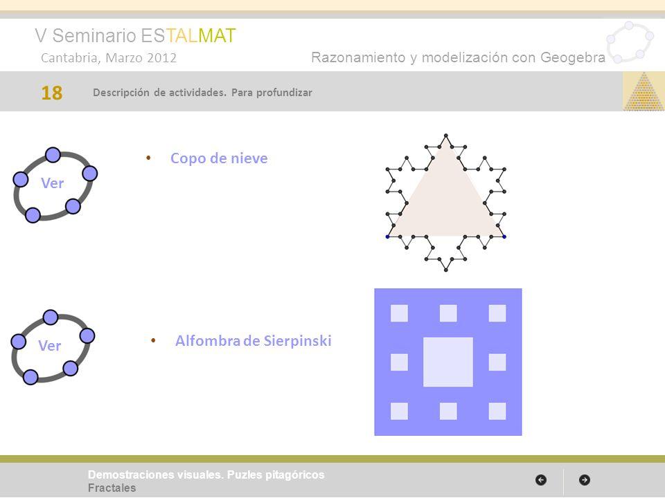 V Seminario ESTALMAT Cantabria, Marzo 2012 Razonamiento y modelización con Geogebra Alfombra de Sierpinski 18 Demostraciones visuales. Puzles pitagóri