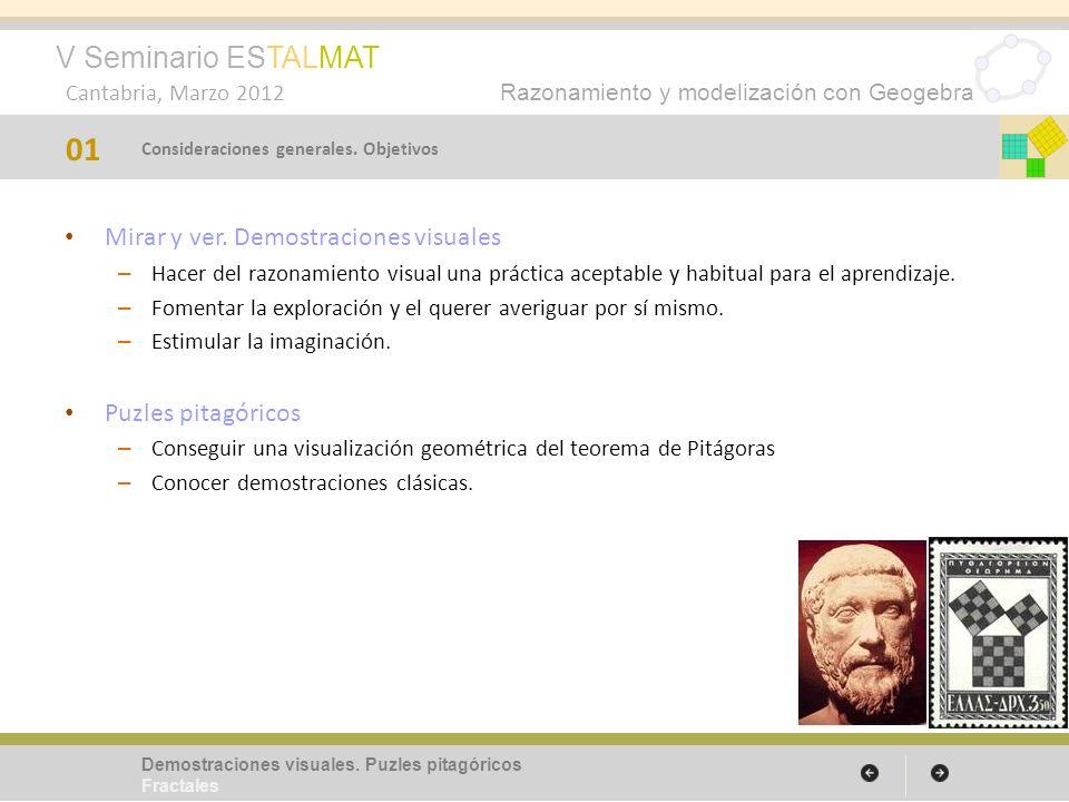 V Seminario ESTALMAT Cantabria, Marzo 2012 Razonamiento y modelización con Geogebra Mirar y ver. Demostraciones visuales – Hacer del razonamiento visu