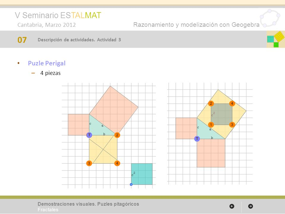 V Seminario ESTALMAT Cantabria, Marzo 2012 Razonamiento y modelización con Geogebra Puzle Perigal – 4 piezas 07 Demostraciones visuales. Puzles pitagó