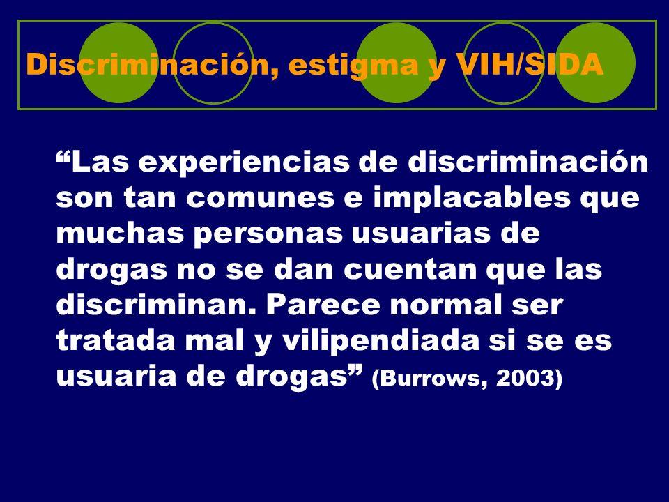 Discriminación, estigma y VIH/SIDA Las experiencias de discriminación son tan comunes e implacables que muchas personas usuarias de drogas no se dan c
