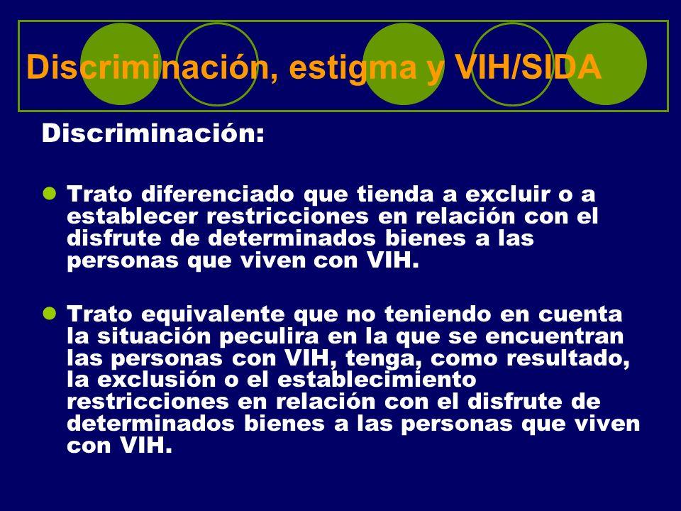 Discriminación, estigma y VIH/SIDA Discriminación: Trato diferenciado que tienda a excluir o a establecer restricciones en relación con el disfrute de