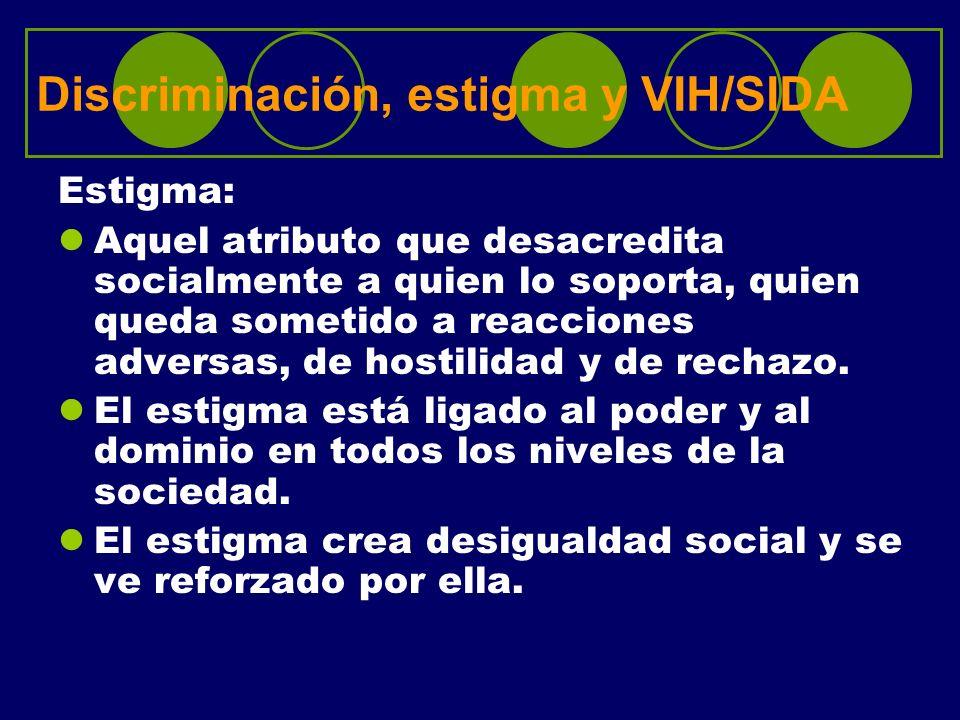 Discriminación, estigma y VIH/SIDA Estigma: Aquel atributo que desacredita socialmente a quien lo soporta, quien queda sometido a reacciones adversas,