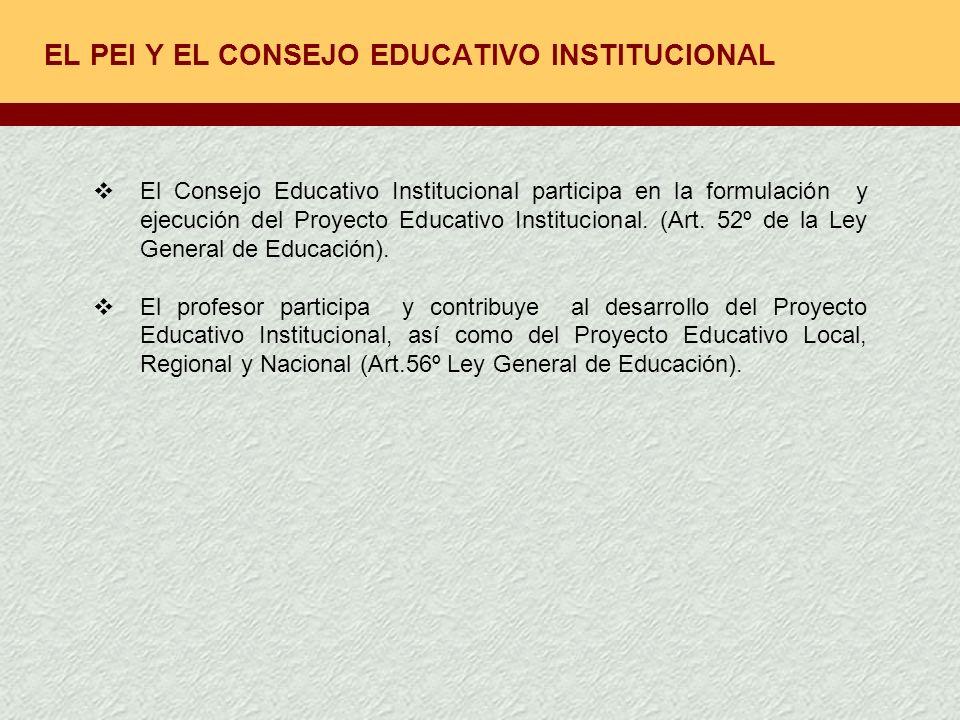EL PEI Y EL CONSEJO EDUCATIVO INSTITUCIONAL El Consejo Educativo Institucional participa en la formulación y ejecución del Proyecto Educativo Instituc