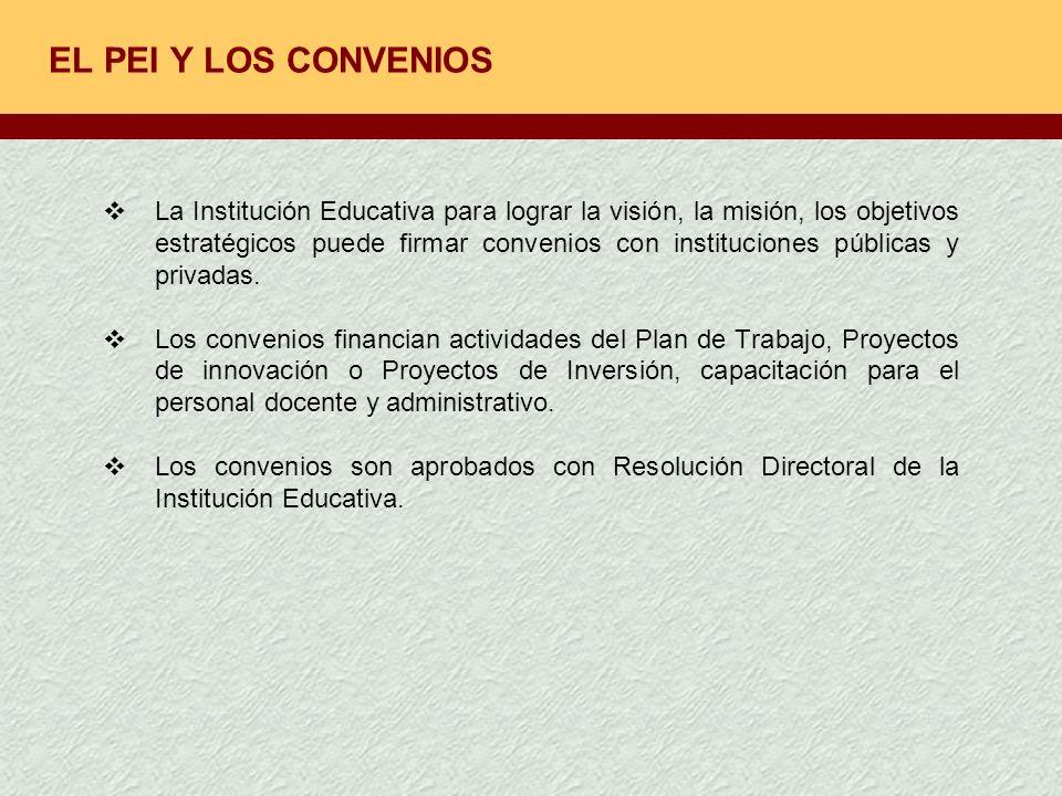 EL PEI Y LOS CONVENIOS La Institución Educativa para lograr la visión, la misión, los objetivos estratégicos puede firmar convenios con instituciones