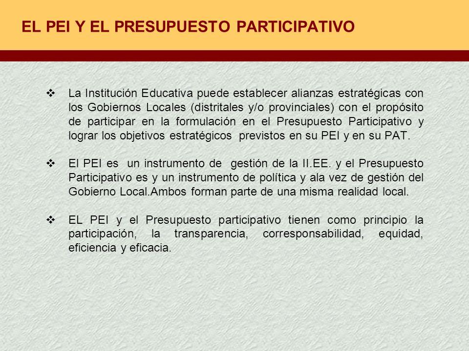 EL PEI Y EL PRESUPUESTO PARTICIPATIVO La Institución Educativa puede establecer alianzas estratégicas con los Gobiernos Locales (distritales y/o provi