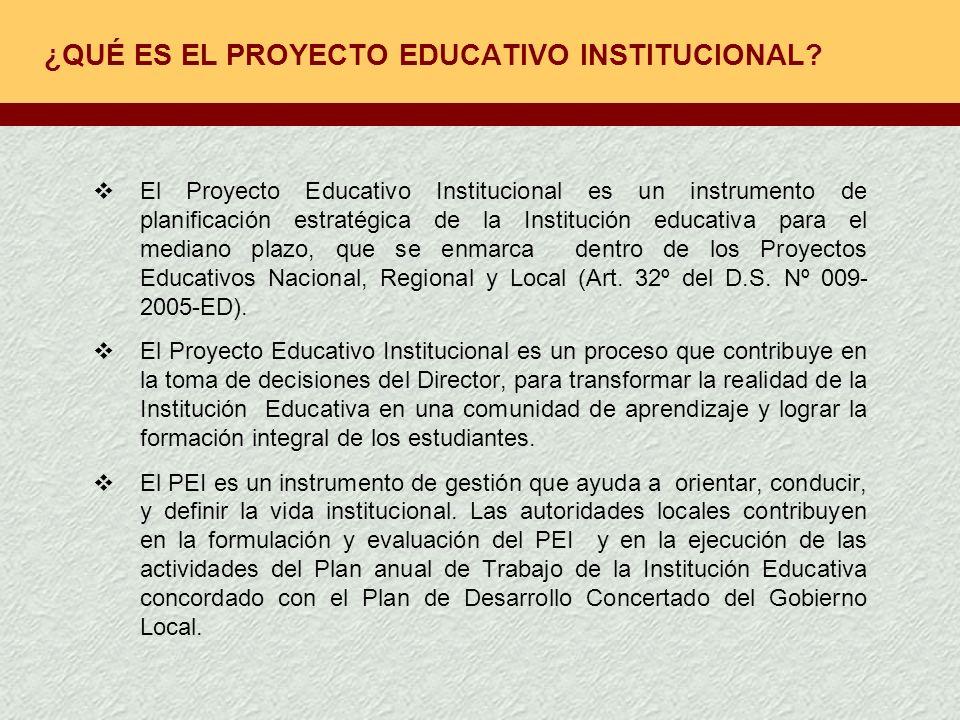 EL PEI Y El PROYECTO EDUCATIVO NACIONAL El PEI orienta la gestión de la Institución Educativa para el mediano plazo.En su aprobación participa el CONEI (participación,concertación y vigilancia).