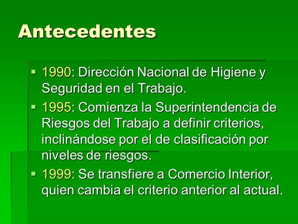Antecedentes 1990: Dirección Nacional de Higiene y Seguridad en el Trabajo. 1990: Dirección Nacional de Higiene y Seguridad en el Trabajo. 1995: Comie