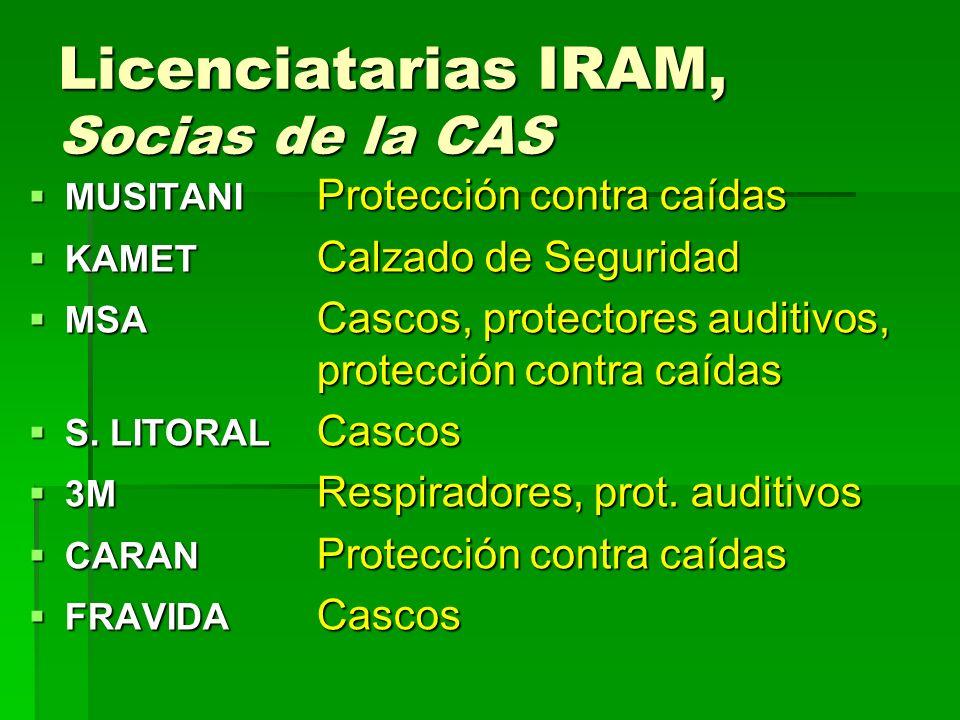 Licenciatarias IRAM, Socias de la CAS MUSITANI Protección contra caídas MUSITANI Protección contra caídas KAMET Calzado de Seguridad KAMET Calzado de