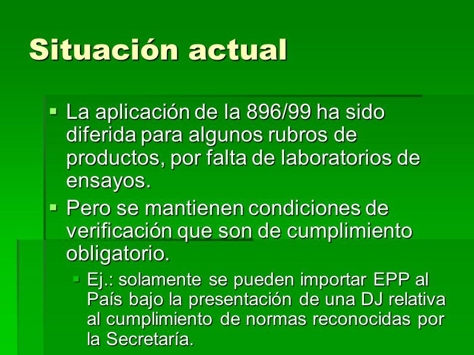 Situación actual La aplicación de la 896/99 ha sido diferida para algunos rubros de productos, por falta de laboratorios de ensayos. La aplicación de
