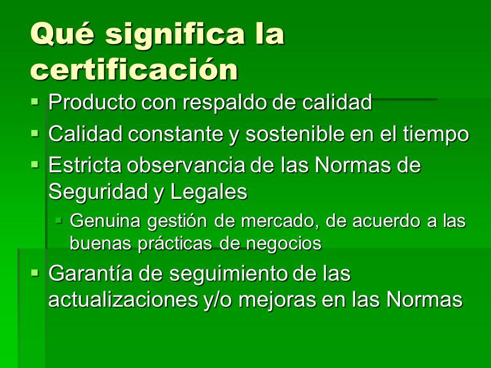 Qué significa la certificación Producto con respaldo de calidad Producto con respaldo de calidad Calidad constante y sostenible en el tiempo Calidad c