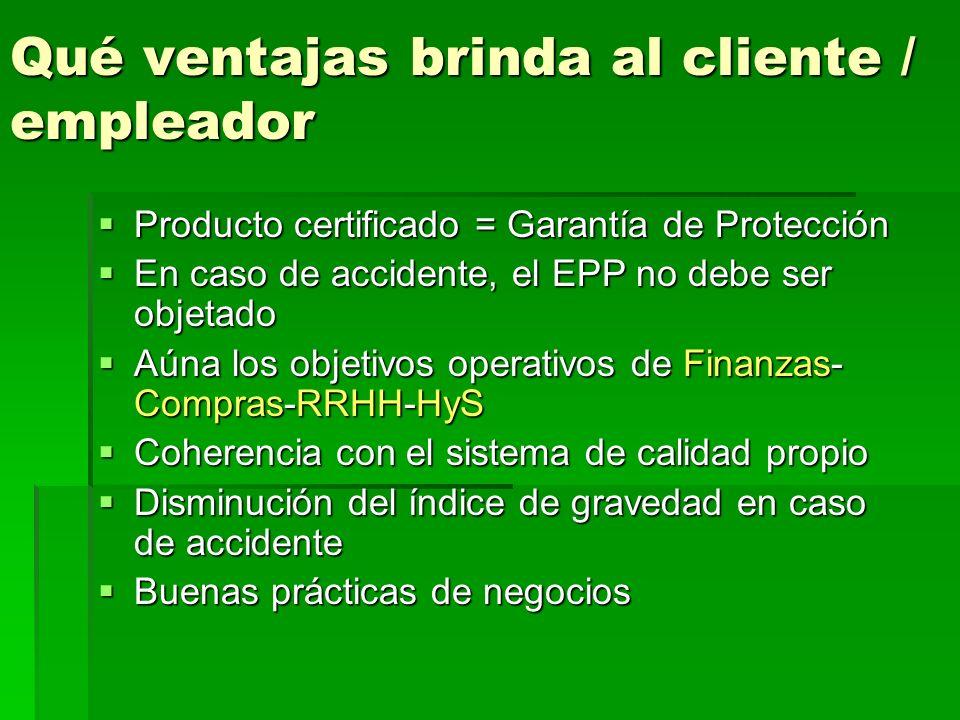 Qué ventajas brinda al cliente / empleador Producto certificado = Garantía de Protección Producto certificado = Garantía de Protección En caso de accidente, el EPP no debe ser objetado En caso de accidente, el EPP no debe ser objetado Aúna los objetivos operativos de Finanzas- Compras-RRHH-HyS Aúna los objetivos operativos de Finanzas- Compras-RRHH-HyS Coherencia con el sistema de calidad propio Coherencia con el sistema de calidad propio Disminución del índice de gravedad en caso de accidente Disminución del índice de gravedad en caso de accidente Buenas prácticas de negocios Buenas prácticas de negocios