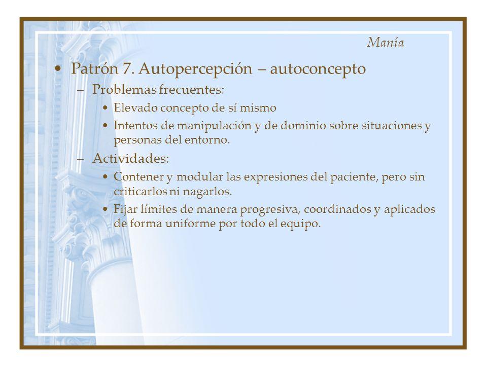 Patrón 7. Autopercepción – autoconcepto –Problemas frecuentes: Elevado concepto de sí mismo Intentos de manipulación y de dominio sobre situaciones y