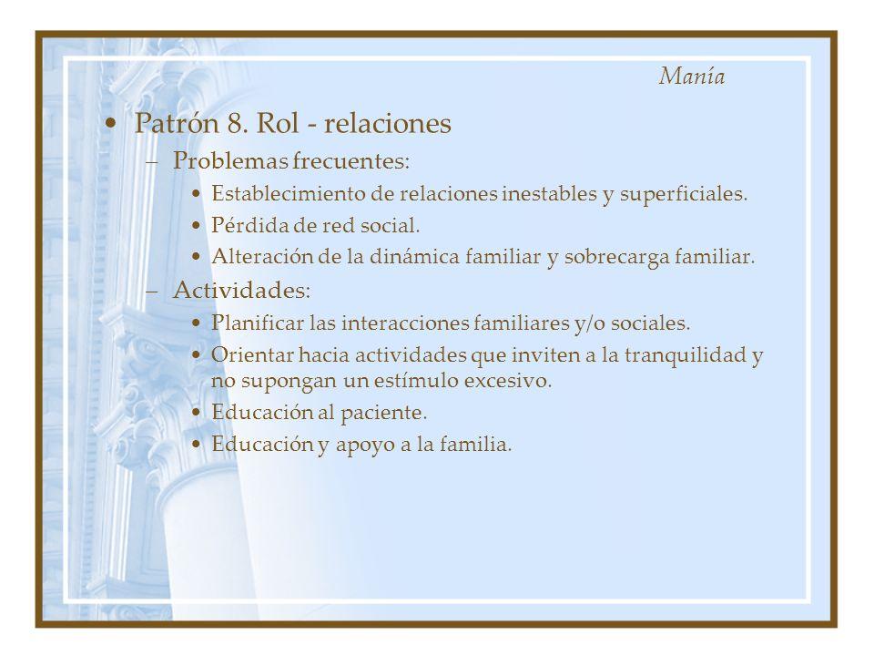 Patrón 8. Rol - relaciones –Problemas frecuentes: Establecimiento de relaciones inestables y superficiales. Pérdida de red social. Alteración de la di
