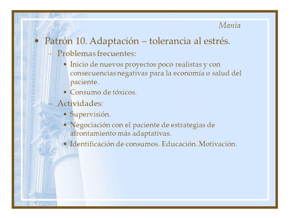 Patrón 10. Adaptación – tolerancia al estrés. –Problemas frecuentes: Inicio de nuevos proyectos poco realistas y con consecuencias negativas para la e