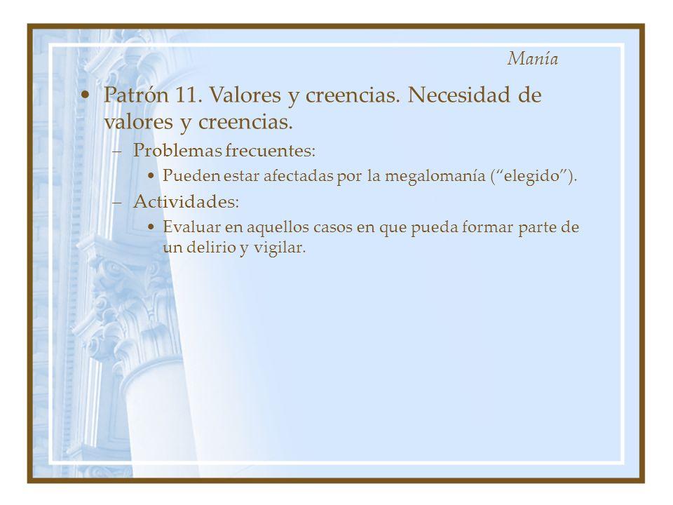 Patrón 11. Valores y creencias. Necesidad de valores y creencias. –Problemas frecuentes: Pueden estar afectadas por la megalomanía (elegido). –Activid