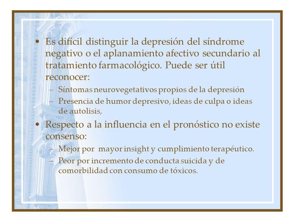 Es difícil distinguir la depresión del síndrome negativo o el aplanamiento afectivo secundario al tratamiento farmacológico. Puede ser útil reconocer: