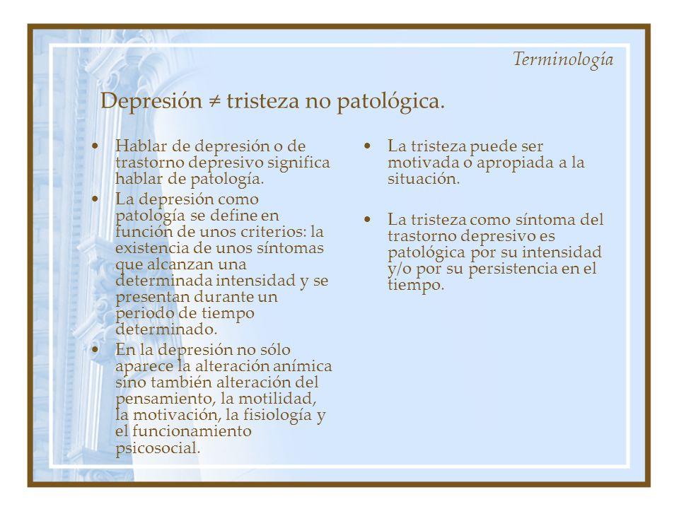 Depresión tristeza no patológica. Hablar de depresión o de trastorno depresivo significa hablar de patología. La depresión como patología se define en