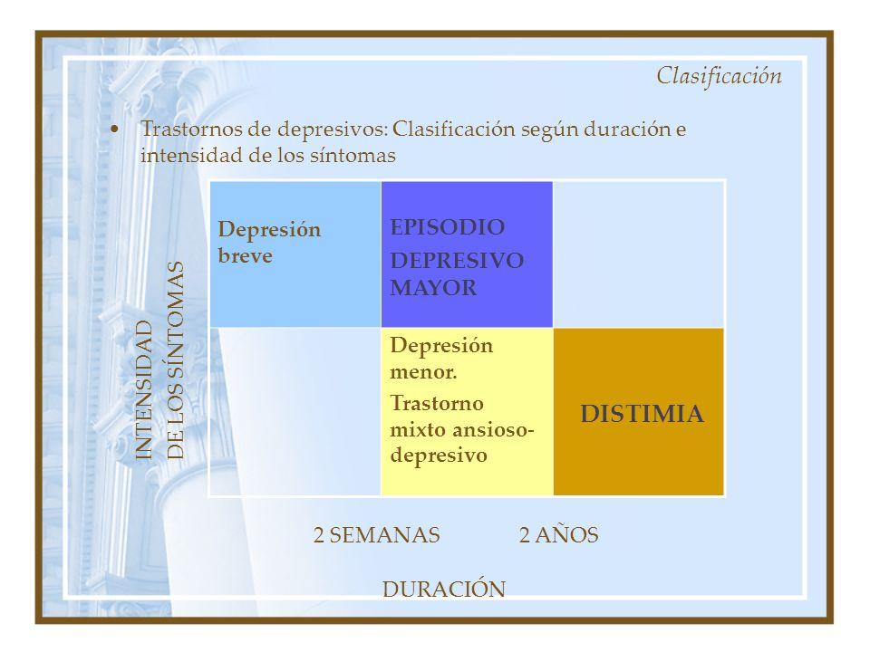Trastornos de depresivos: Clasificación según duración e intensidad de los síntomas Depresión breve EPISODIO DEPRESIVO MAYOR Depresión menor. Trastorn