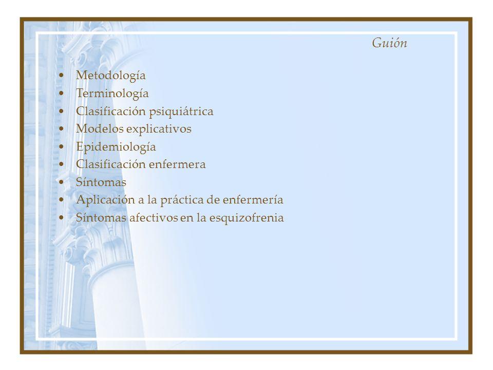 Metodología Terminología Clasificación psiquiátrica Modelos explicativos Epidemiología Clasificación enfermera Síntomas Aplicación a la práctica de en