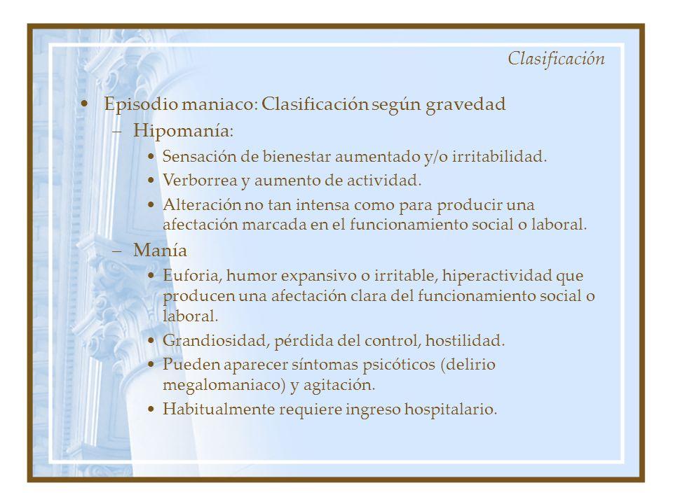 Clasificación Episodio maniaco: Clasificación según gravedad –Hipomanía: Sensación de bienestar aumentado y/o irritabilidad. Verborrea y aumento de ac