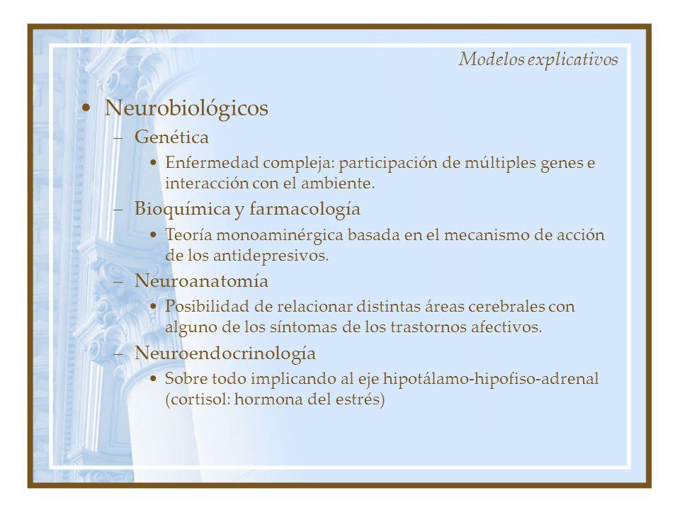 Neurobiológicos –Genética Enfermedad compleja: participación de múltiples genes e interacción con el ambiente. –Bioquímica y farmacología Teoría monoa