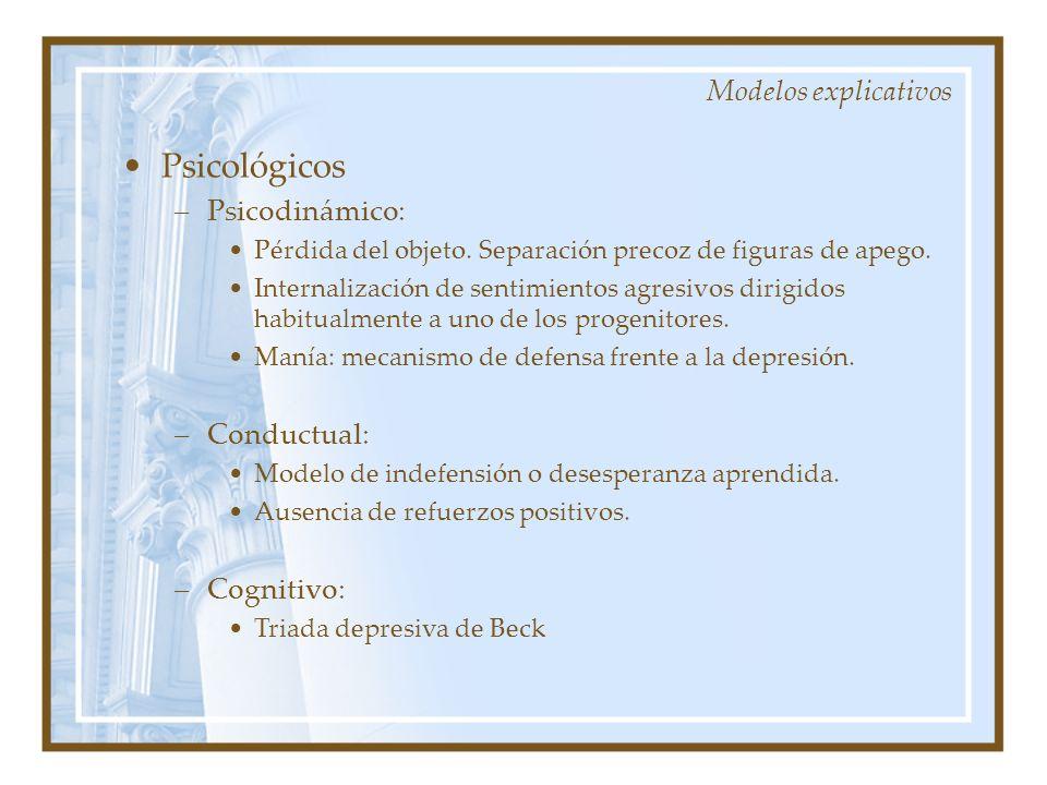 Modelos explicativos Psicológicos –Psicodinámico: Pérdida del objeto. Separación precoz de figuras de apego. Internalización de sentimientos agresivos