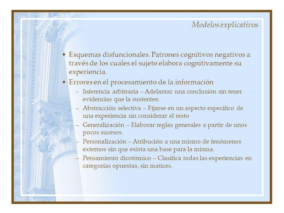 Modelos explicativos Esquemas disfuncionales. Patrones cognitivos negativos a través de los cuales el sujeto elabora cognitivamente su experiencia. Er