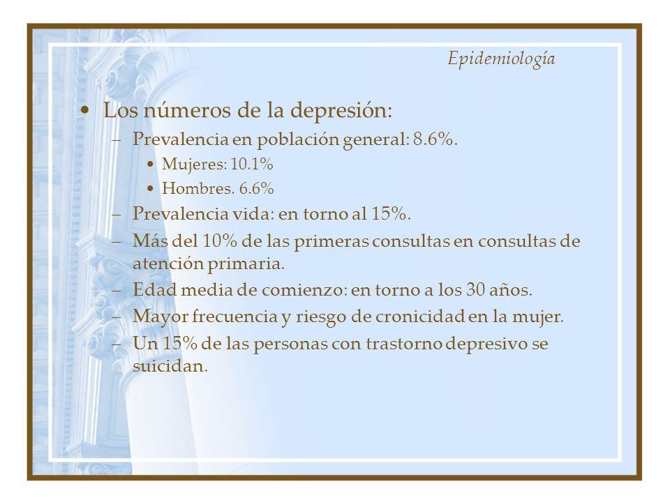 Los números de la depresión: –Prevalencia en población general: 8.6%. Mujeres: 10.1% Hombres. 6.6% –Prevalencia vida: en torno al 15%. –Más del 10% de