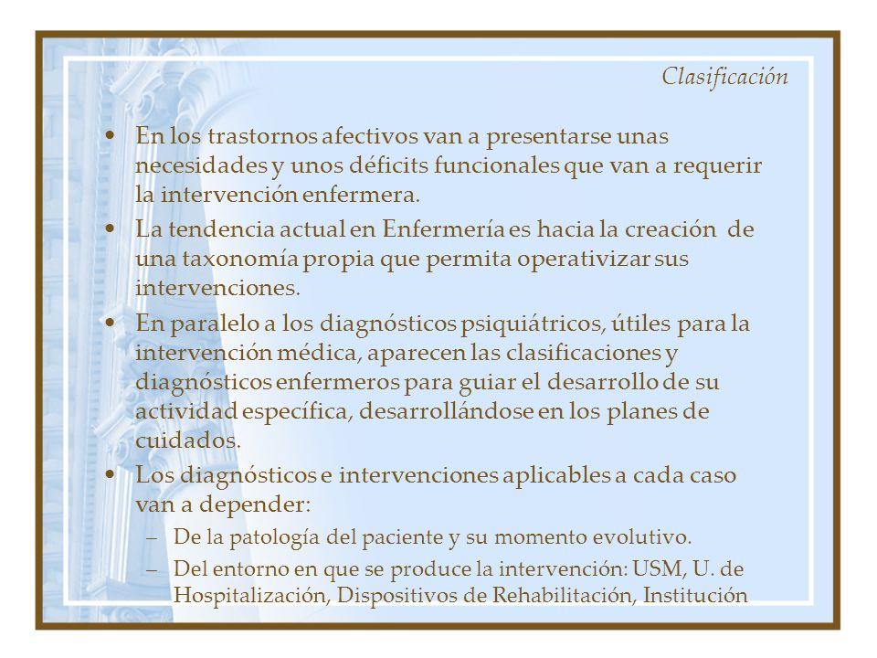 En los trastornos afectivos van a presentarse unas necesidades y unos déficits funcionales que van a requerir la intervención enfermera. La tendencia
